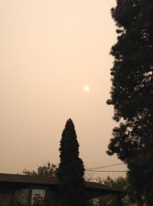 Sole oscurato dal fumo dell'incendio in USA