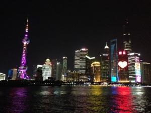 Shanghai: skyline notturno